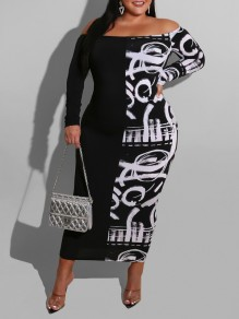 White Letter Off Shoulder Bodycon Long Sleeve Party Maxi Dress