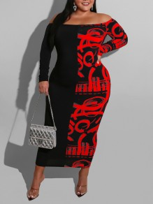 Red Letter Off Shoulder Bodycon Long Sleeve Party Maxi Dress