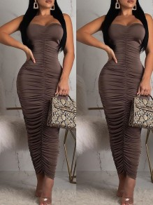 Brown Off Shoulder Pleated Bodycon Prom Evening Party Maxi Dress