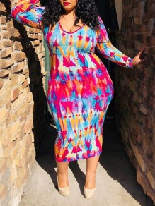 Red Tie Dyeing Bodycon Plus Size Round Neck Long Sleeve Party Maxi Dress