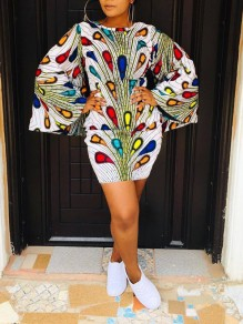 White Peacock Print Bell Sleeve Bodycon Party Maxi Dress