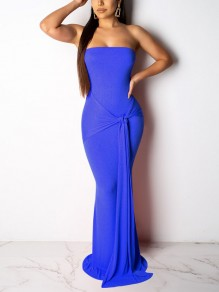Blue Off Shoulder Knot Bodycon Mermaid Prom Evening Party Maxi Dress