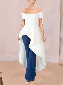 White Off Shoulder Cascading Ruffle Irregular High-Low Elegant Party Maxi Dress