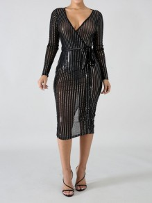 Black Patchwork Grenadine Rhinestone Belt Bodycon Sheer V-neck Long Sleeve Party Maxi Dress