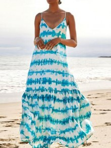 Blue Striped Spaghetti Strap Pleated V-neck Bohemian Beachwear Maxi Dress