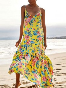 Yellow Floral Spaghetti Strap Pleated V-neck Bohemian Beachwear Maxi Dress