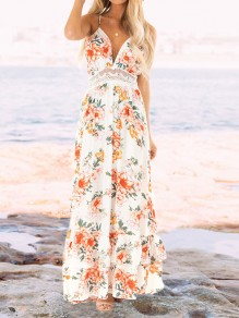 White Floral Print Patchwork Lace Draped Flowy Backless Deep V-neck Casual Bohemian Beach Maxi Dress