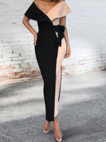 Black Off Shoulder Ruffle Belt Bodycon Elegant Party Maxi Dress