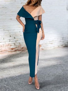Blue Off Shoulder Ruffle Belt Bodycon Elegant Party Maxi Dress