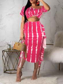 Rose Carmine Striped Off Shoulder Ruffle Two Piece Bodycon Party Maxi Dress