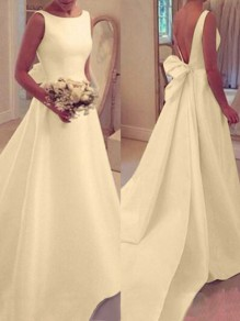 White Draped Backless Round Neck Sleeveless Wedding Gowns Banquet Elegant Maxi Dress