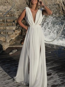 White Draped Slit Deep V-neck Sleeveless Elegant Beach Maxi Dress