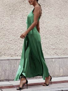 Green Spaghetti Strap Knot Two Piece Pleated Party Maxi Dress