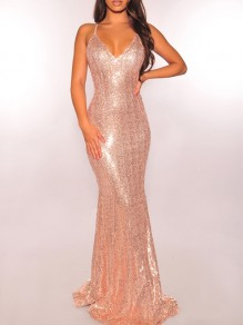 Golden Patchwork Sequin Backless Bodycon Mermaid V-neck Sparkly Glitter Birthday Party Maxi Dress