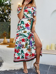 White Floral Print Sashes Side Slit Off Shoulder Short Sleeve Bohemian Maxi Dres