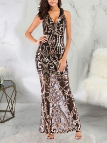 Golden Patchwork Sequin Bodycon Mermaid V-neck Backless Sparkly Glitter Birthday Prom Evening Party Maxi Dress