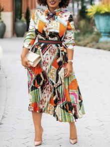 Orange Tribal Floral Pleated Turndown Collar High Waisted Bohemian African Party Maxi Dress