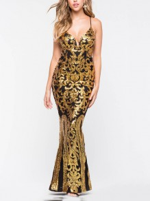 29e1274cad4 Golden Patchwork Sequin Spaghetti Strap Bodycon Mermaid V-neck Sparkly  Glitter Birthday Party Maxi Dress