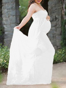 White Bandeau Pregnant Photoshoot Elegant Chiffon Romper with Maxi Overlay Maternity Maxi Dress