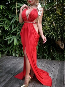 Red Draped Cut Out Chain Halter Neck Slit Mermaid Bohemian Evening Party Maxi Dress
