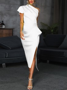 White Asymmetric Shoulder Ruffle Side Slits Bodycon Elegant Party Maxi Dress
