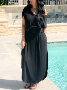 Black One Off Shoulder High-Low Kont Casual Maxi Dress