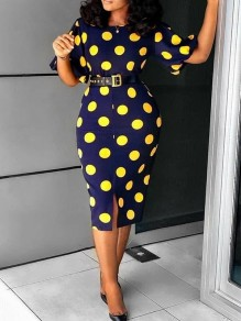 Navy Blue Polka Dot Front Slit Lantern Sleeve Bodycon Elegant Party Maxi Dress