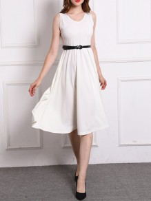 White Belt Round Neck New Fashion Latest Women Casual Wedding Guest Midi Dress
