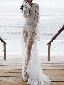 White Patchwork Lace Wrap V-neck Long Sleeve Sheer Bohemian Beachwear Bikini Cover up Smock Maxi Dress