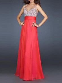 Red Sequin Draped V-neck Sleeveless Elegant Prom Evening Party Banquet Maxi Dress