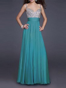 Green Sequin Draped V-neck Sleeveless Elegant Prom Evening Party Banquet Maxi Dress