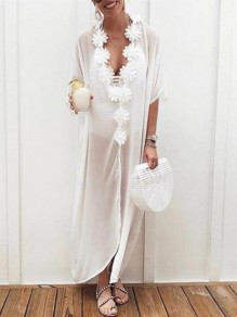 White Appliques V-neck Half Sleeve Bohemian Beach Smock Maxi Dress
