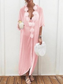 Pink Appliques V-neck Half Sleeve Bohemian Beach Smock Maxi Dress