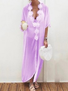 Purple Appliques V-neck Half Sleeve Bohemian Beach Smock Maxi Dress