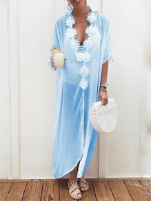 Light Blue Appliques V-neck Half Sleeve Bohemian Beach Smock Maxi Dress