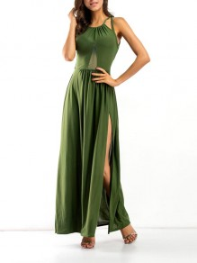 Green Patchwork Grenadine Cross Back Spaghetti Strap Backless Side Slit Beach Maxi Dress