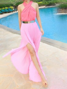 Pink Wrap Strapless Shoulder Cross Halter Neck Thigh High Side Slits Flowy Bohemian Maxi Dress