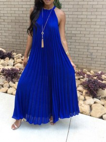 Sapphire Blue Pleated Strapless Shoulder Halter Neck Big Swing Chiffon Elegant Maxi Dress