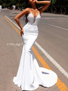 White Lace Appliques Spaghetti Strap Backless Bodycon Mermaid Cocktail Party Wedding Maxi Dress