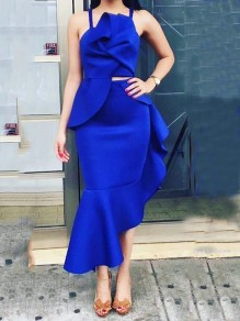 Blue Cascading Ruffle Spaghetti Strap Knot Irregular Two Piece Elegant Party Maxi Dress