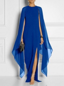 Blue Draped Side Slit Round Neck Long Sleeve Fashion Banquet Maxi Dress