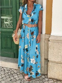 Sky Blue Floral Belt V-neck Bohemian Maxi Dress