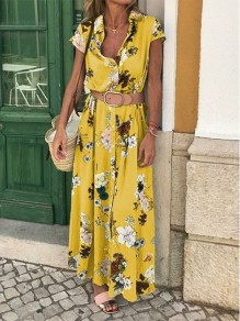 Yellow Floral Belt V-neck Bohemian Maxi Dress