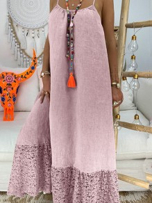 Pink Patchwork Lace Condole Belt Backless Going out Maxi Dress