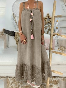 Coffee Patchwork Lace Condole Belt Backless Going out Maxi Dress