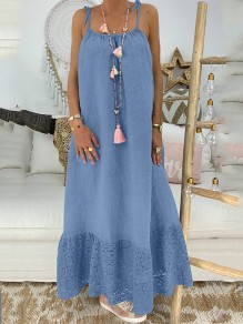 Blue Patchwork Lace Condole Belt Backless Going out Maxi Dress