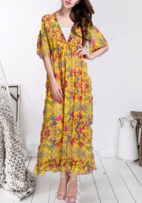 Yellow Floral Print V-neck Big Swing Sashes Drawstring Pleated Bohemian Beach Flowy Vacation Maxi Dress