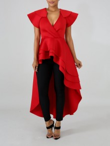 Red Cascading Ruffle Off Shoulder High-Low Elegant Party Maxi Dress