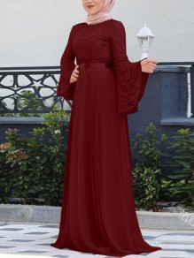 Burgundy Patchwork Lace Pleated Bell Sleeve Church Elegant Party Maxi Dress