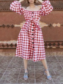 Red-White Plaid Off Shoulder Pleated Buttons Belt Party Maxi Dress